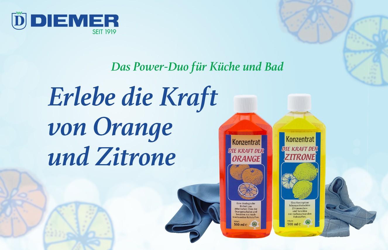 Kraft der Orange und Zitrone